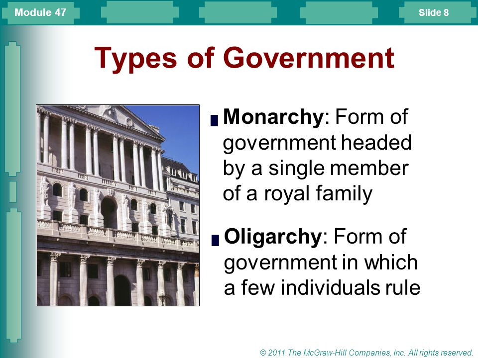 Module 47 Types of Government. Monarchy: Form of government headed by a single member of a royal family.