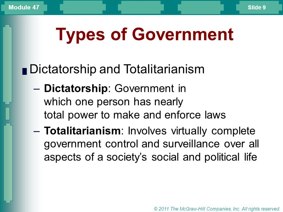 Types of Government Dictatorship and Totalitarianism