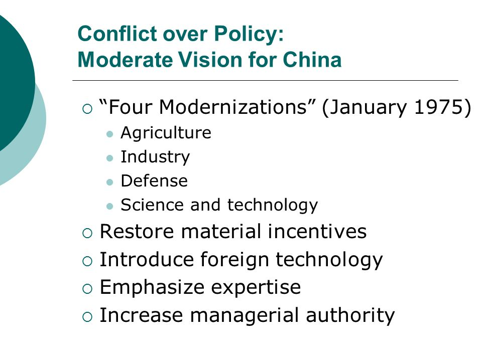 Conflict over Policy: Moderate Vision for China