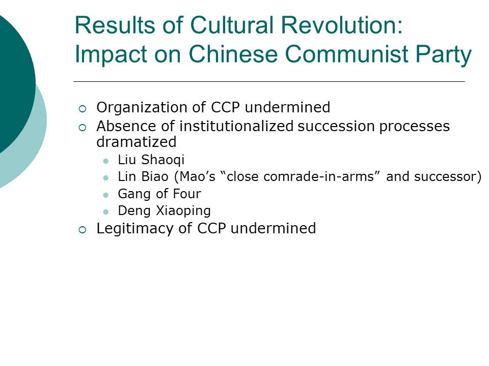 Results of Cultural Revolution: Impact on Chinese Communist Party