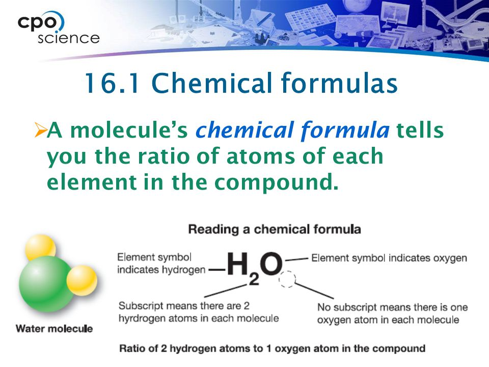 16.1 Chemical formulas A molecule's chemical formula tells you the ratio of atoms of each element in the compound.