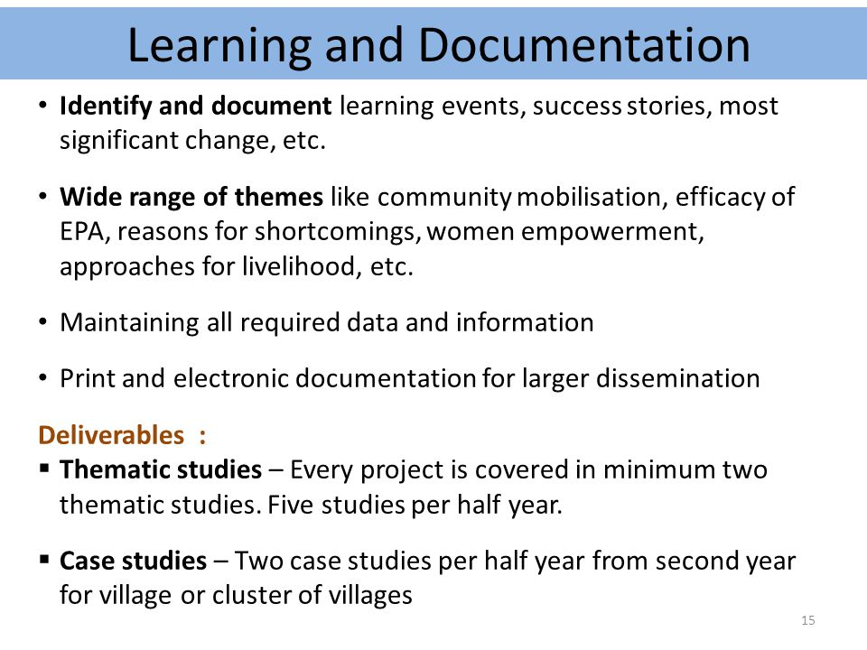 Learning and Documentation