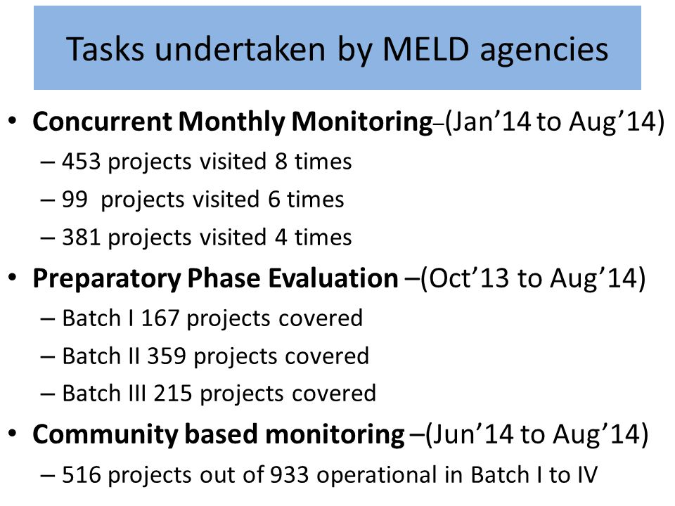 Tasks undertaken by MELD agencies