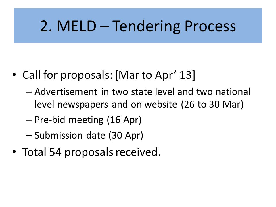 2. MELD – Tendering Process
