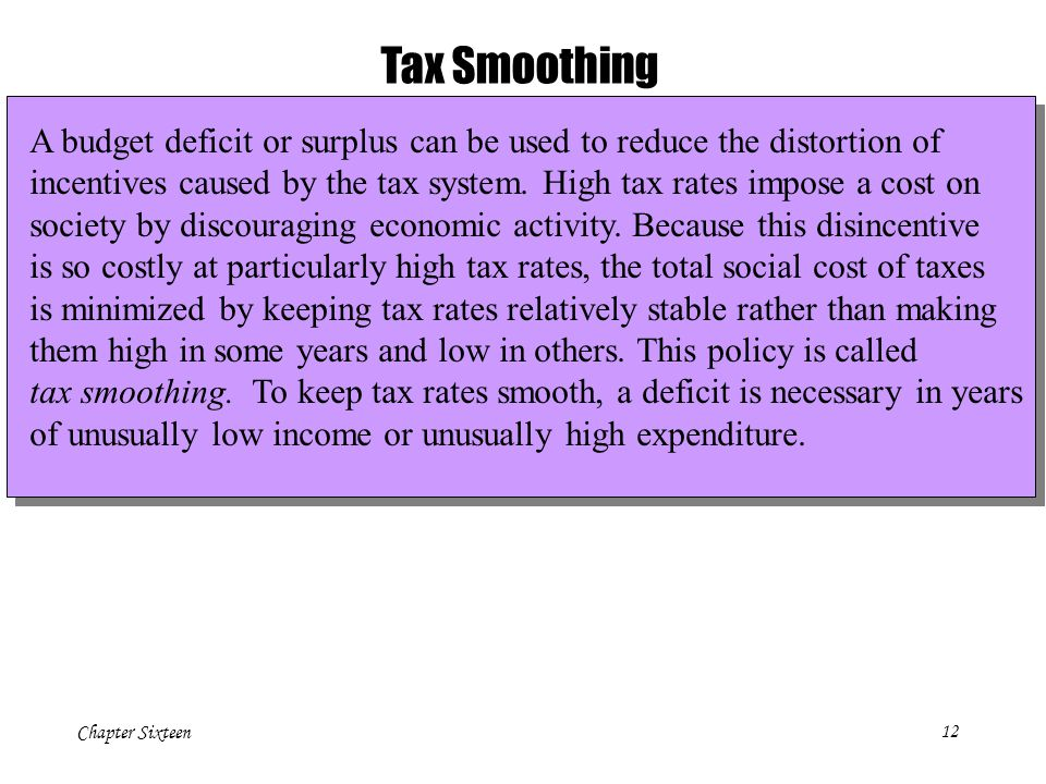 Tax Smoothing A budget deficit or surplus can be used to reduce the distortion of.