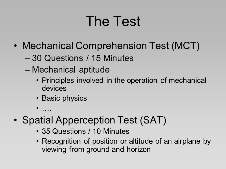The Test Mechanical Comprehension Test (MCT)
