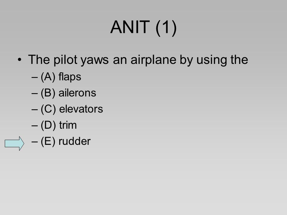 ANIT (1) The pilot yaws an airplane by using the (A) flaps