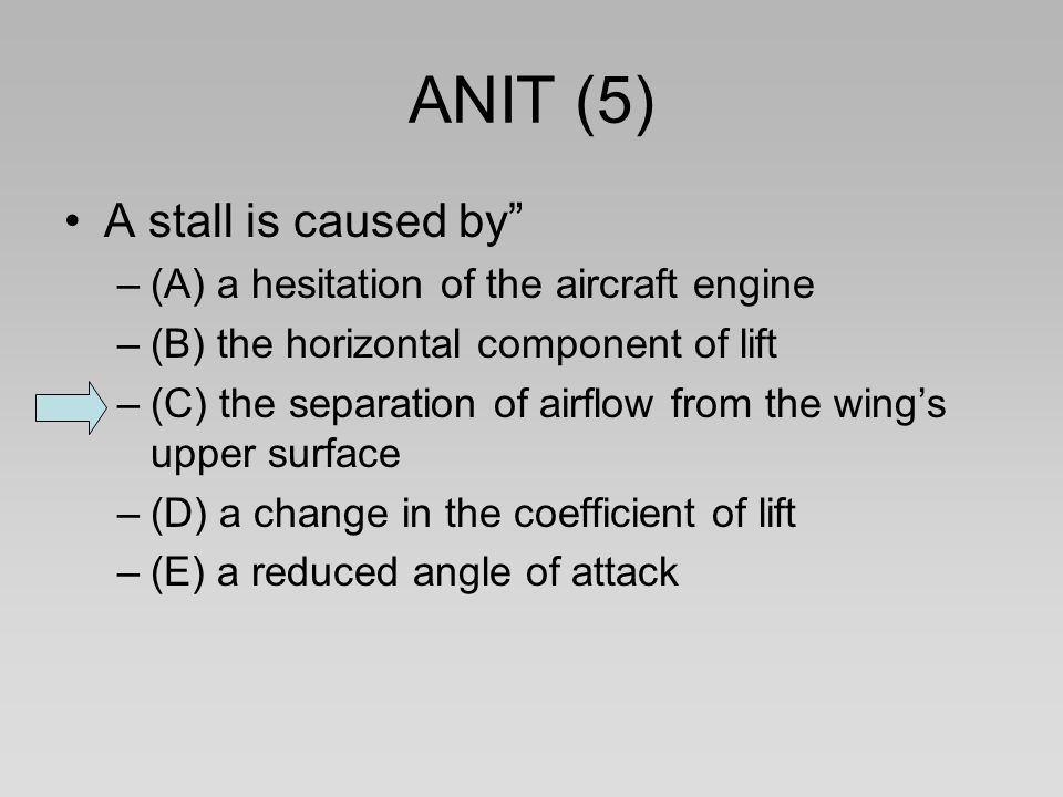 ANIT (5) A stall is caused by (A) a hesitation of the aircraft engine