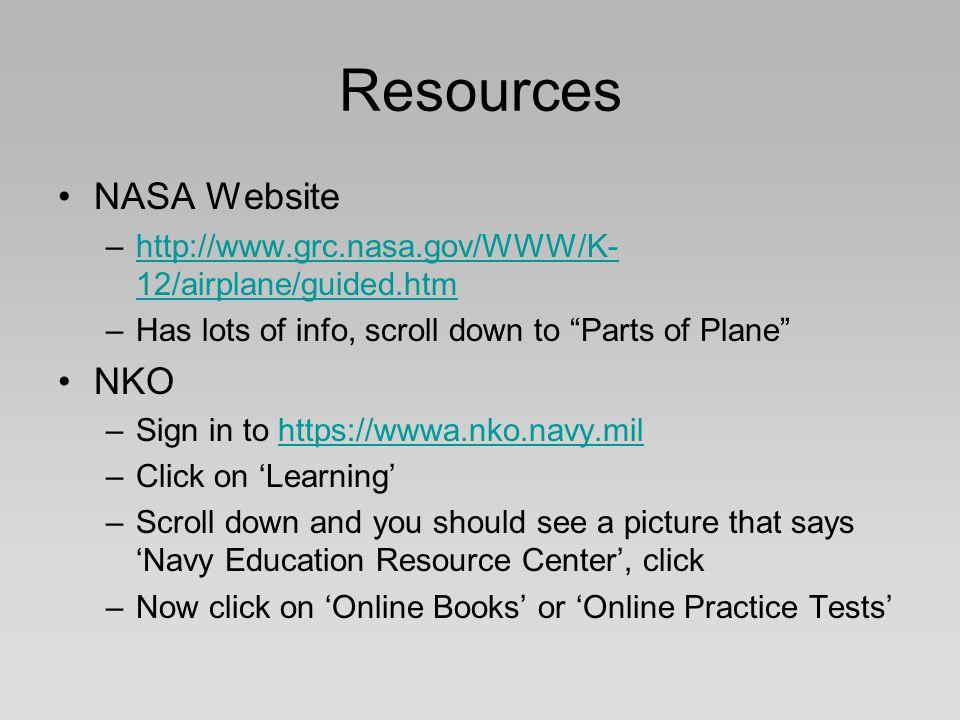 Resources NASA Website NKO