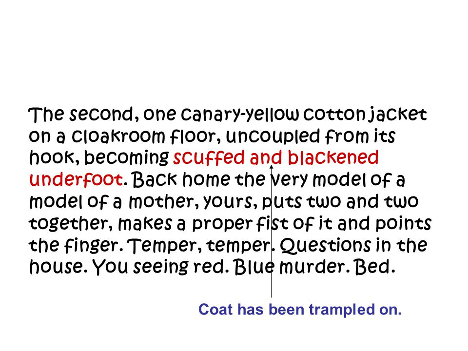 The second, one canary-yellow cotton jacket on a cloakroom floor, uncoupled from its hook, becoming scuffed and blackened underfoot. Back home the very model of a model of a mother, yours, puts two and two together, makes a proper fist of it and points the finger. Temper, temper. Questions in the house. You seeing red. Blue murder. Bed.