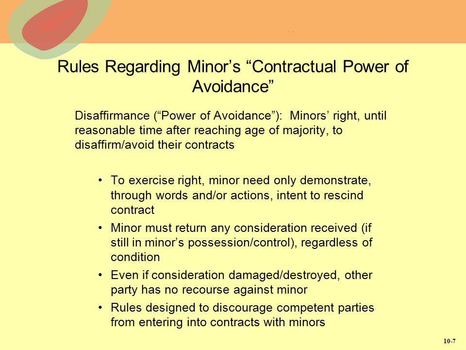 Rules Regarding Minor's Contractual Power of Avoidance