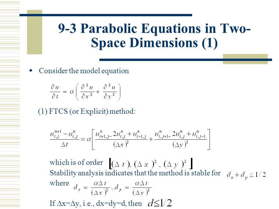 9-3 Parabolic Equations in Two-Space Dimensions (1)