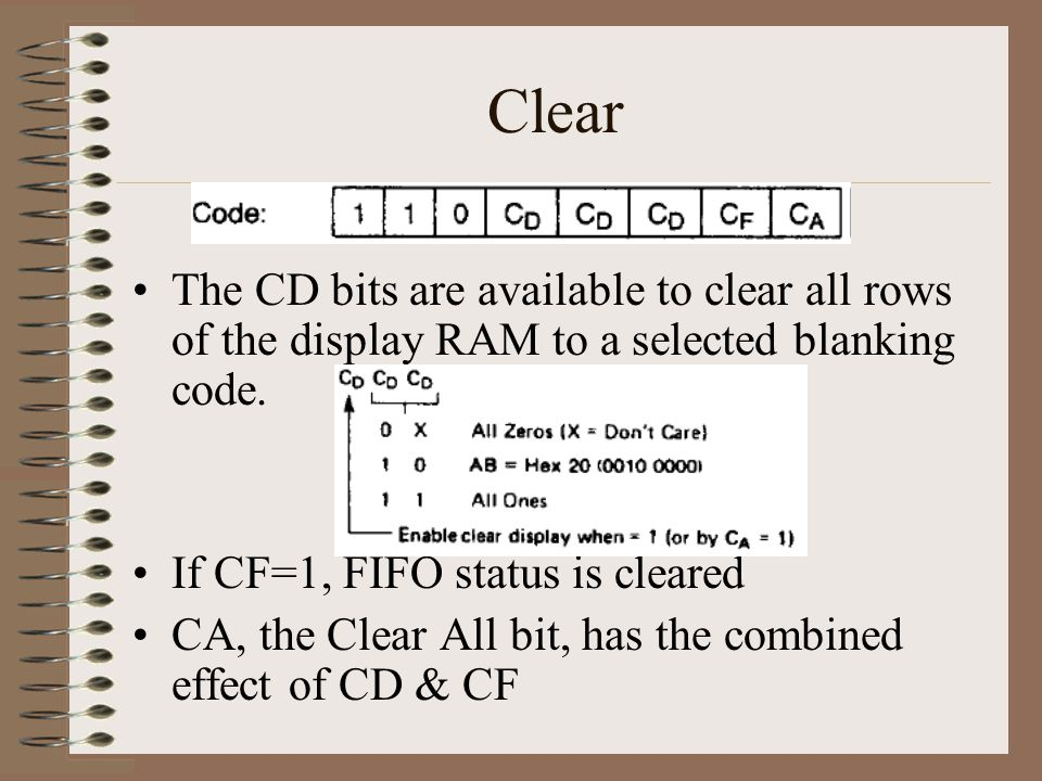 Clear The CD bits are available to clear all rows of the display RAM to a selected blanking code. If CF=1, FIFO status is cleared.