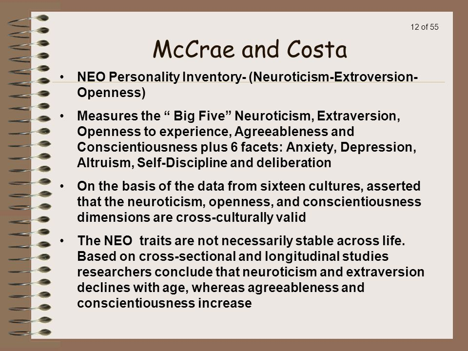 McCrae and Costa NEO Personality Inventory- (Neuroticism-Extroversion-Openness)