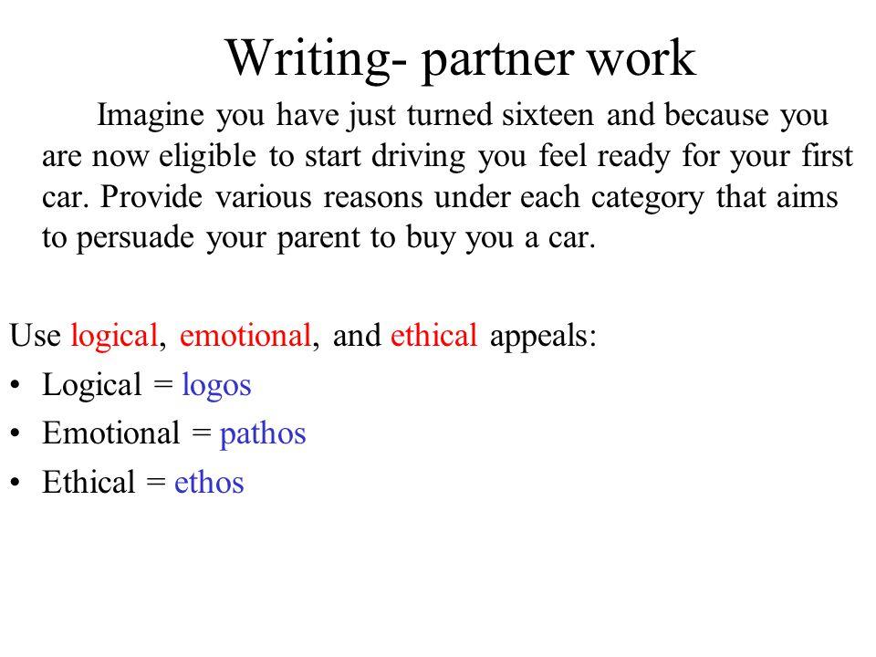 Writing- partner work