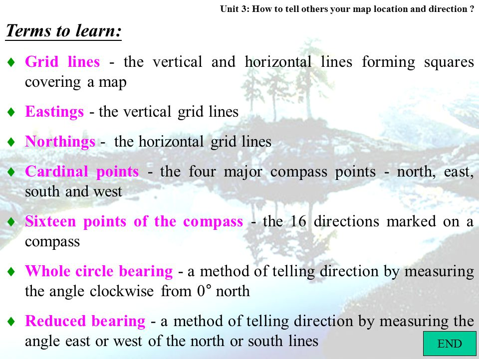 Terms to learn:  Grid lines - the vertical and horizontal lines forming squares covering a map.  Eastings - the vertical grid lines.