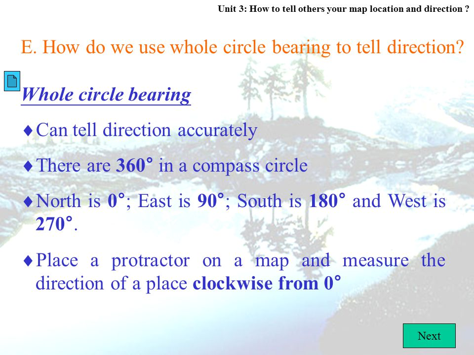 E. How do we use whole circle bearing to tell direction