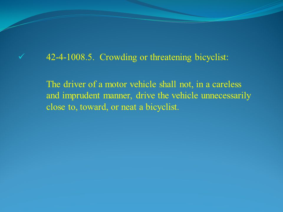 42-4-1008.5. Crowding or threatening bicyclist: