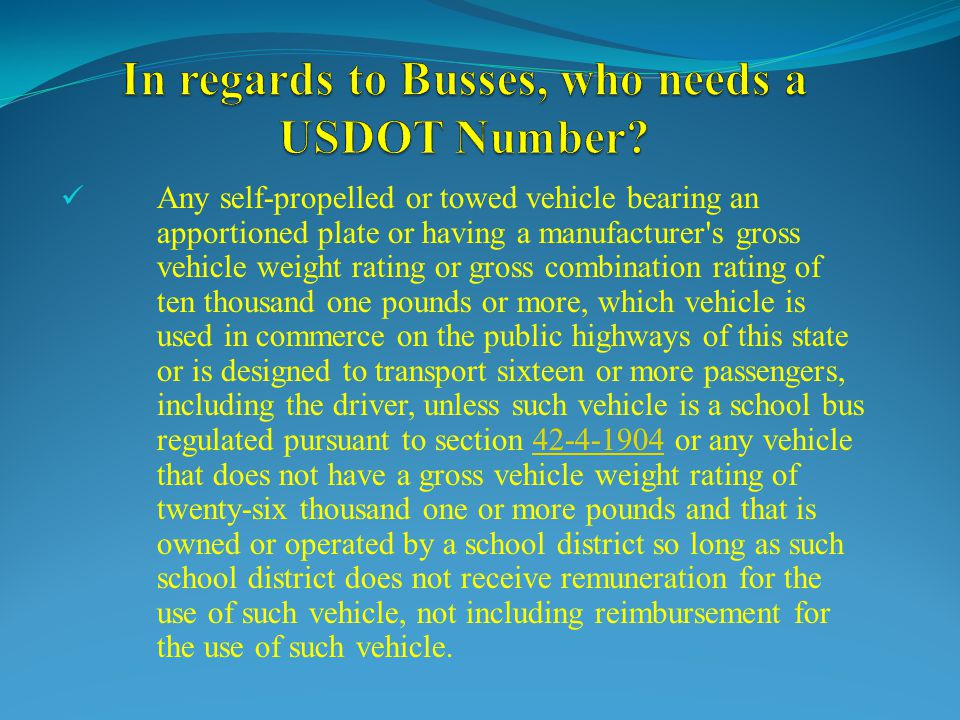 In regards to Busses, who needs a USDOT Number