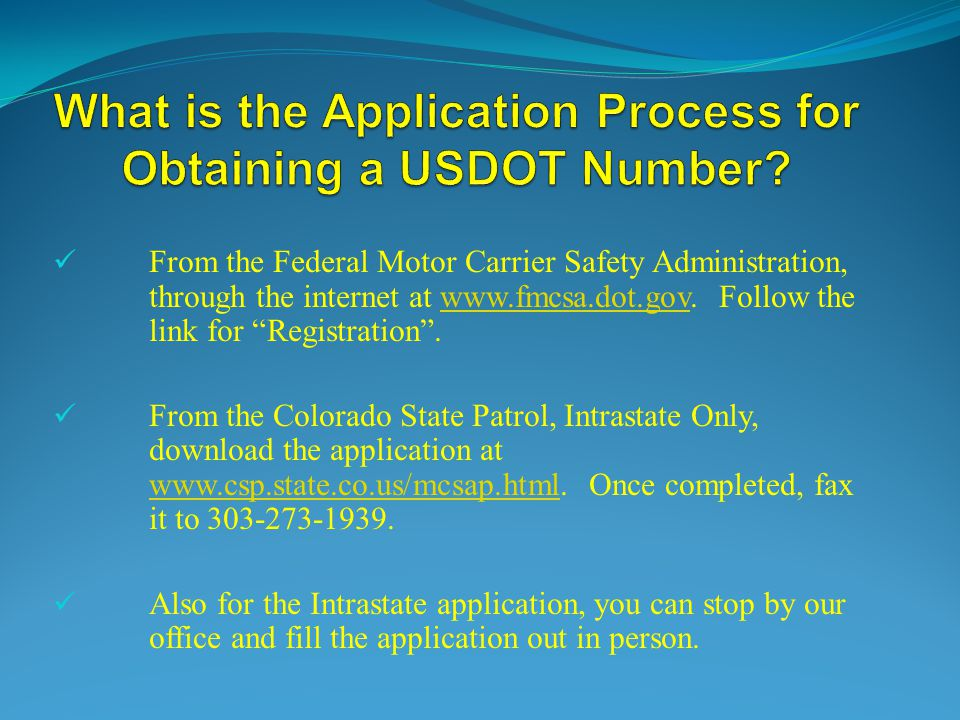 What is the Application Process for Obtaining a USDOT Number
