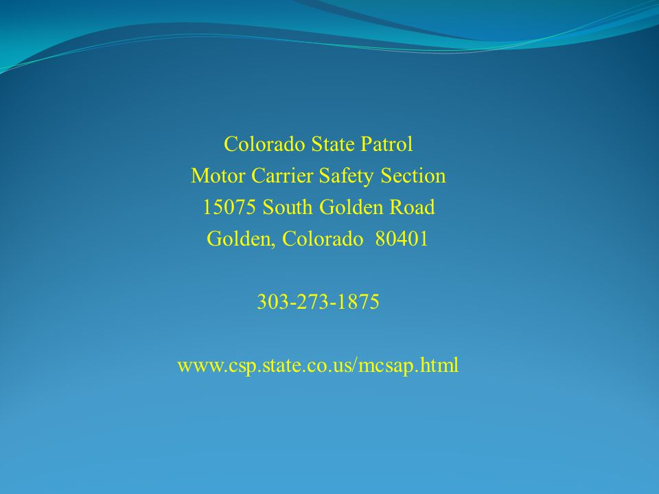 Motor Carrier Safety Section