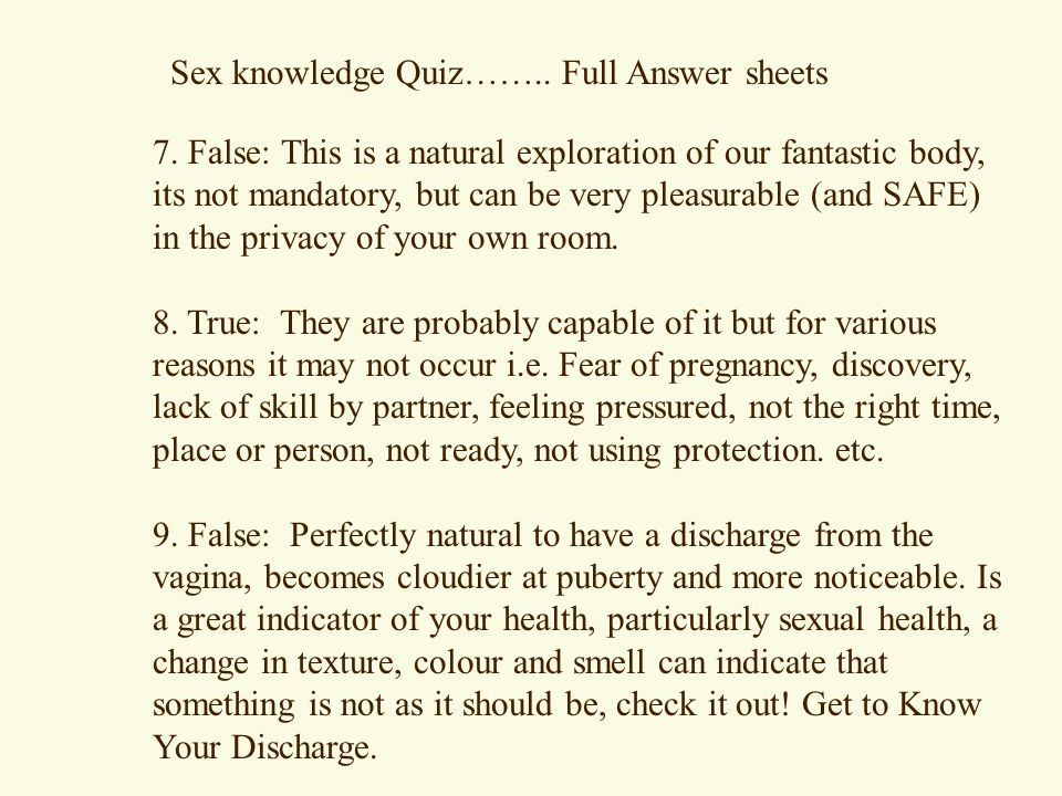 Sexual health quiz for adults