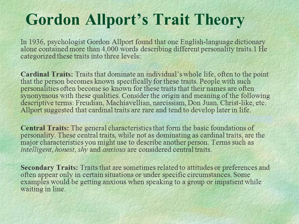critique on gordon allport theories of Allport, gordon gordon willard allport (november 11, 1897 - october 9, 1967) was an american psychologist, who played a major role in shaping the fields of personality psychology and social psychology.