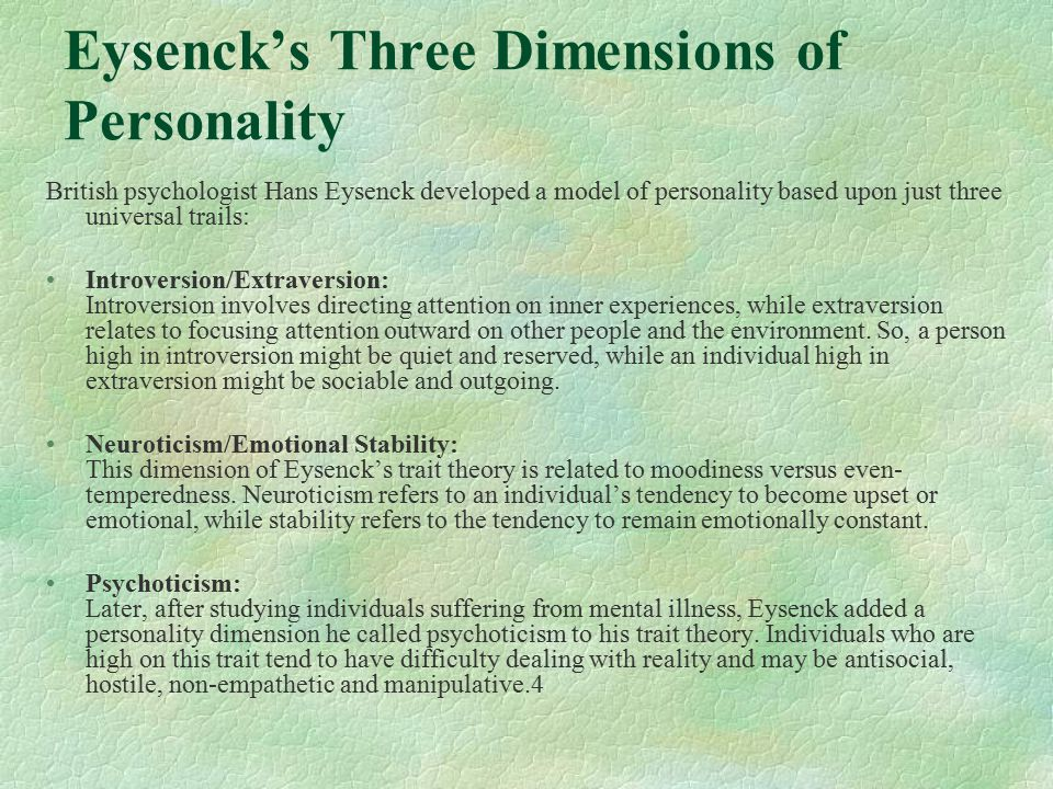 Eysenck's Three Dimensions of Personality