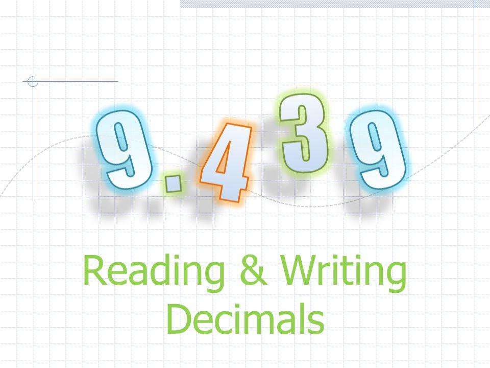 Reading & Writing Decimals