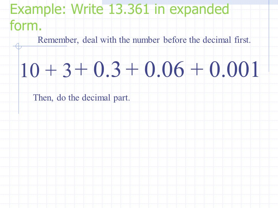 Example: Write 13.361 in expanded form.