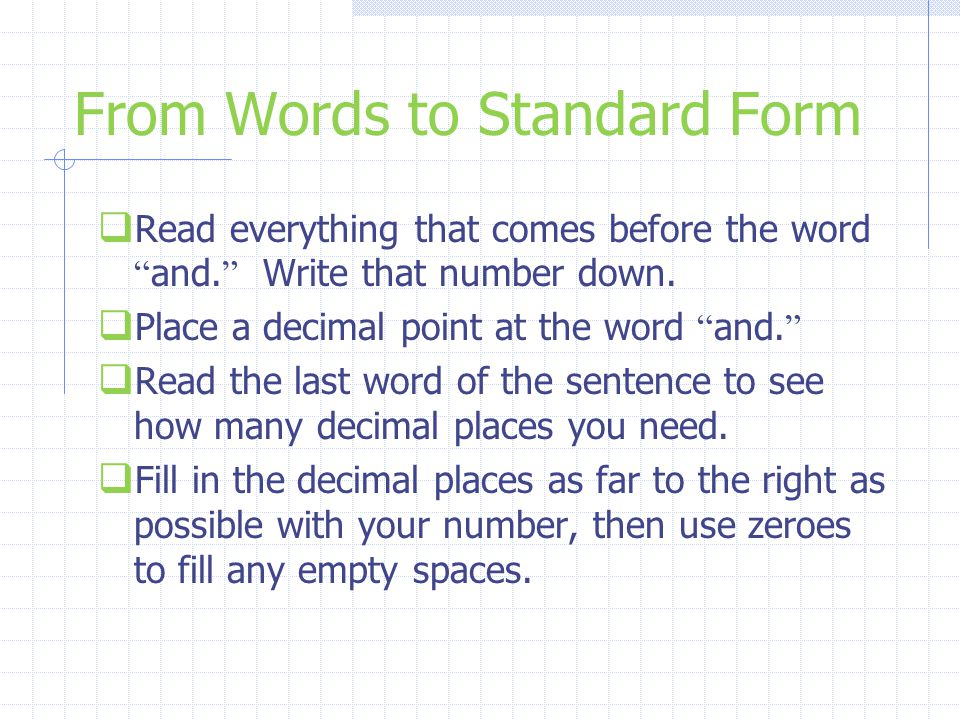 From Words to Standard Form