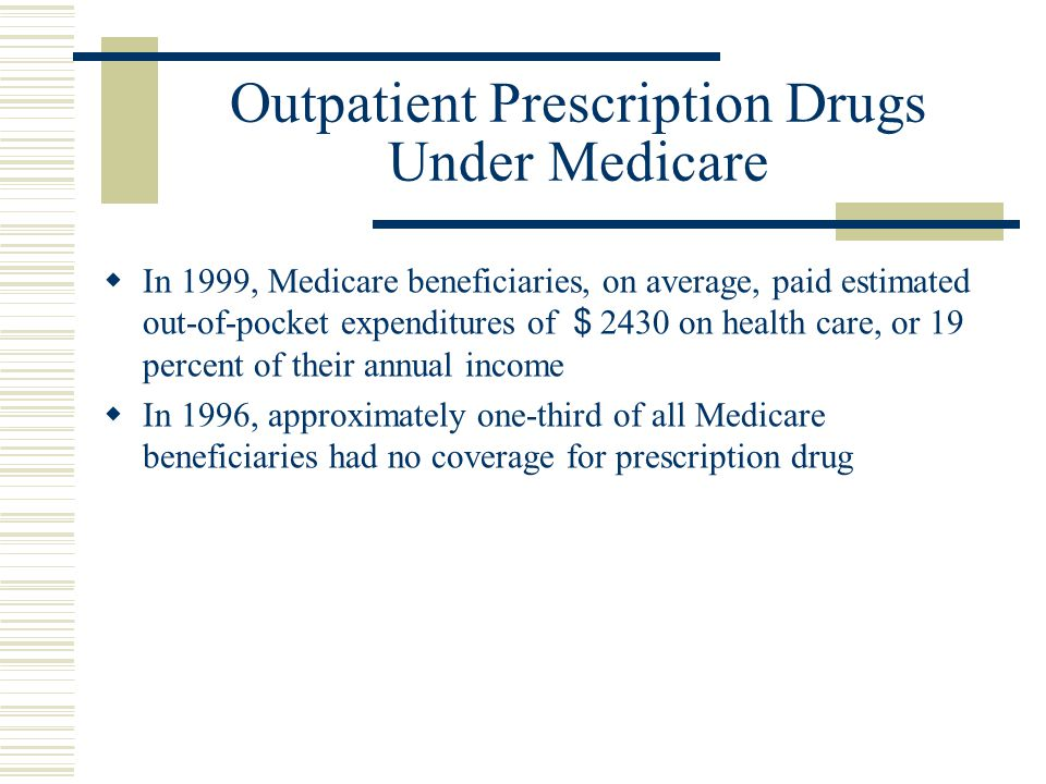 Outpatient Prescription Drugs Under Medicare