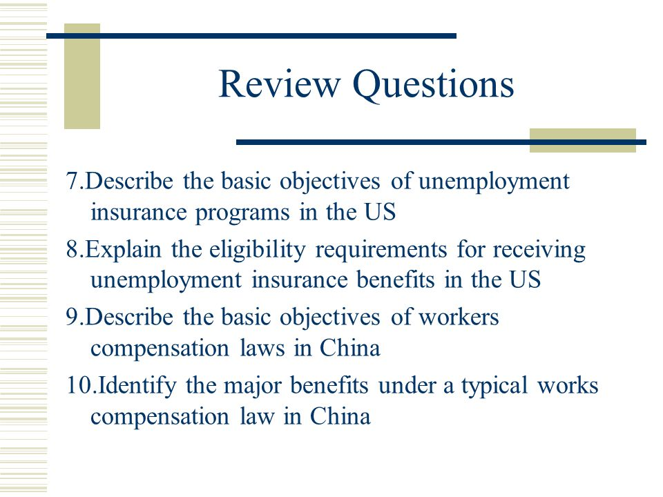 Review Questions 7.Describe the basic objectives of unemployment insurance programs in the US.