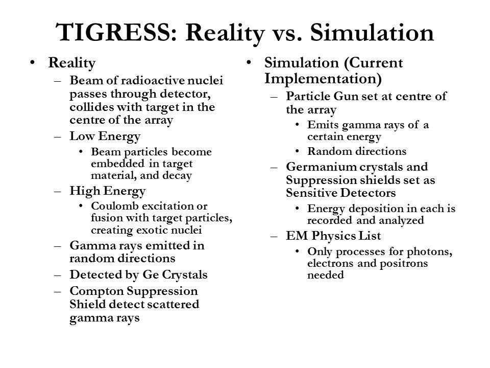 TIGRESS: Reality vs. Simulation