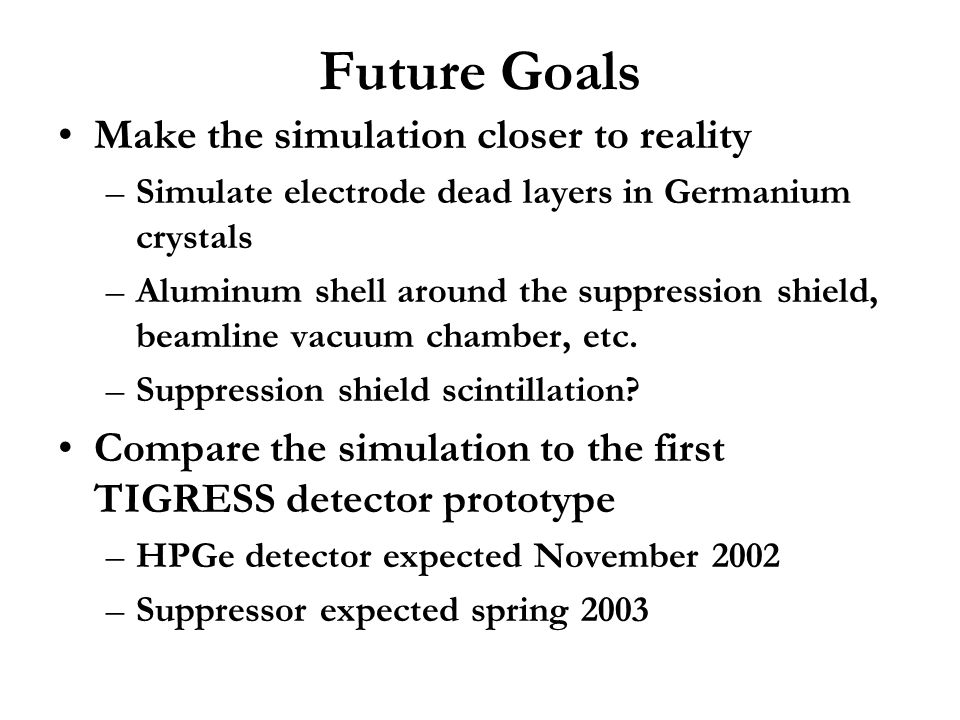 Future Goals Make the simulation closer to reality