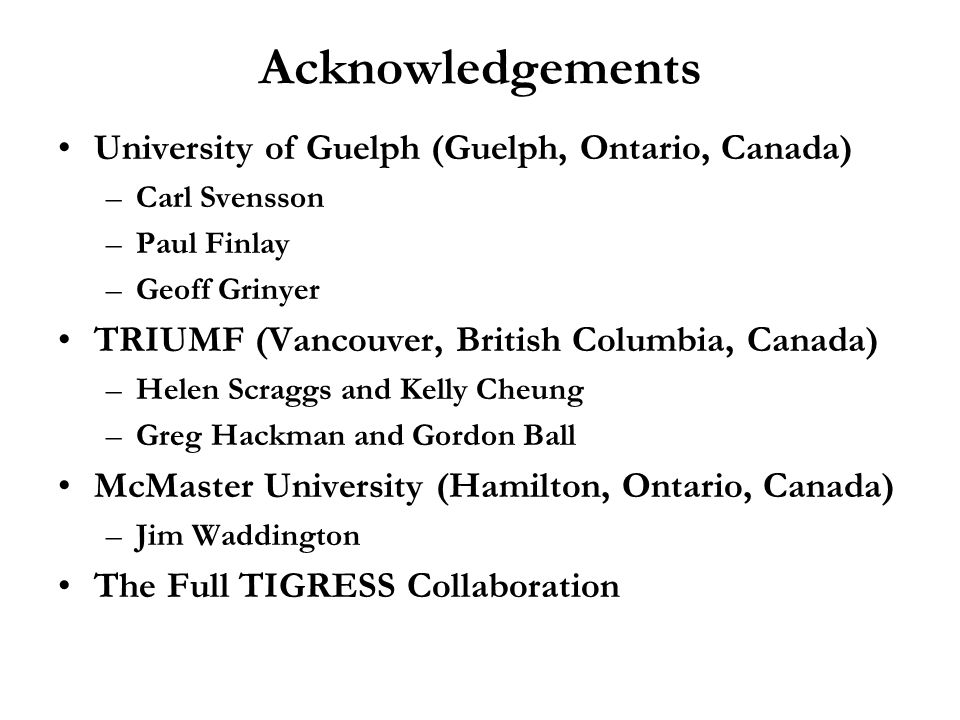 Acknowledgements University of Guelph (Guelph, Ontario, Canada)