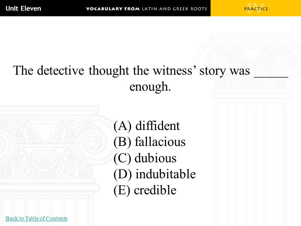 The detective thought the witness' story was _____ enough.
