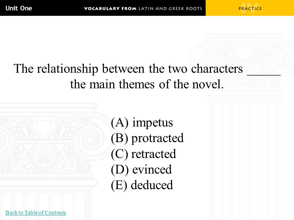 Unit One The relationship between the two characters _____ the main themes of the novel. (A) impetus.