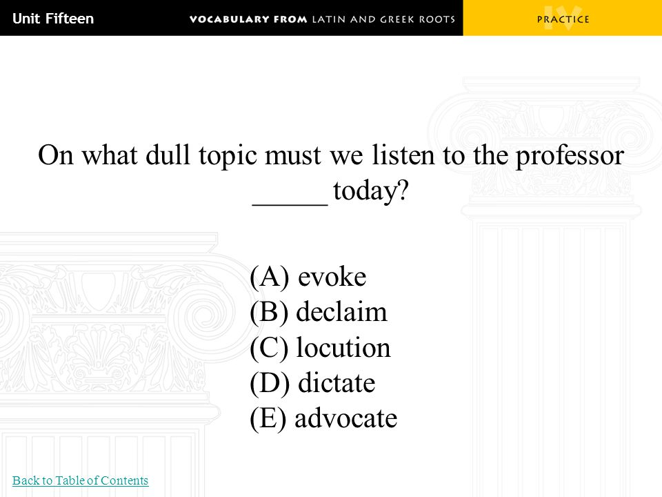 On what dull topic must we listen to the professor _____ today