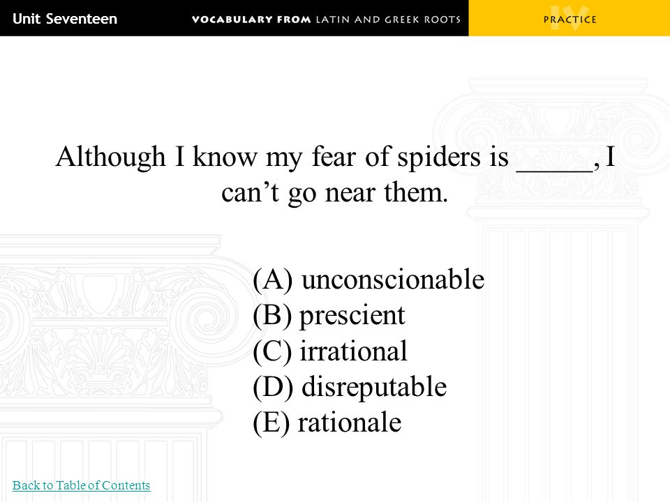 Although I know my fear of spiders is _____, I can't go near them.