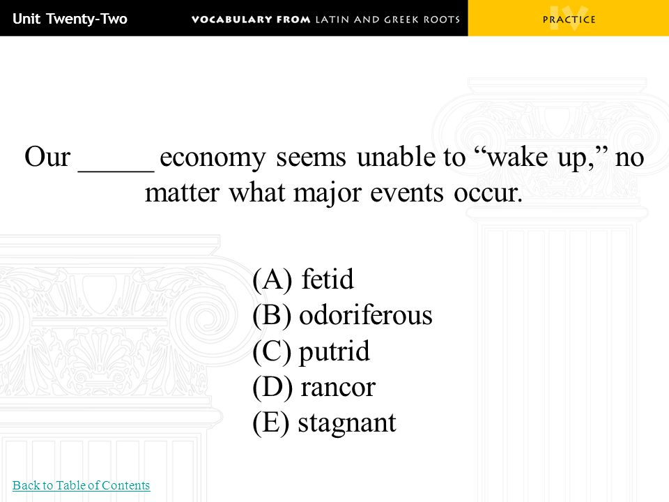 Unit Twenty-Two Our _____ economy seems unable to wake up, no matter what major events occur. (A) fetid.