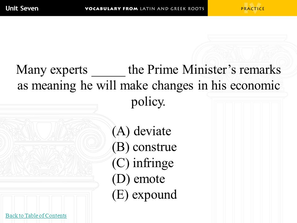 Unit Seven Many experts _____ the Prime Minister's remarks as meaning he will make changes in his economic policy.