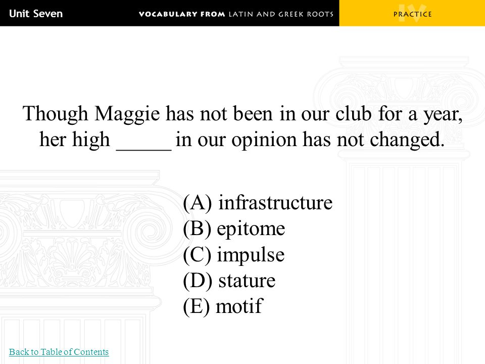 Unit Seven Though Maggie has not been in our club for a year, her high _____ in our opinion has not changed.