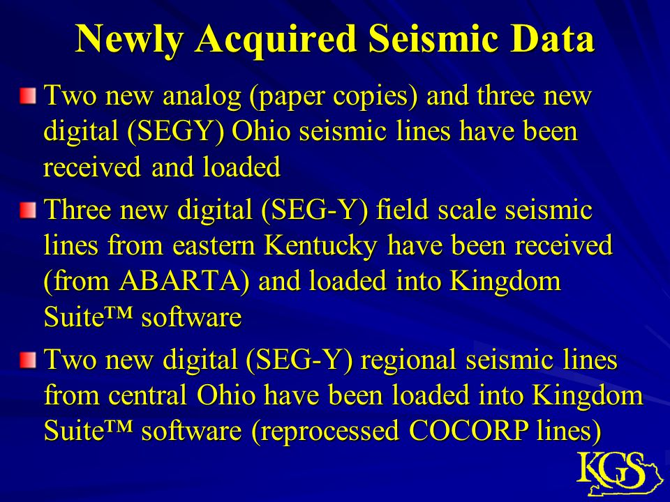 Newly Acquired Seismic Data