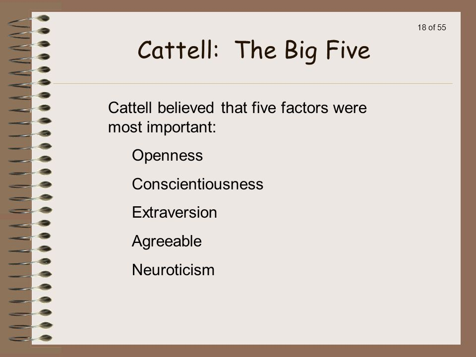 Cattell: The Big Five Cattell believed that five factors were most important: Openness. Conscientiousness.