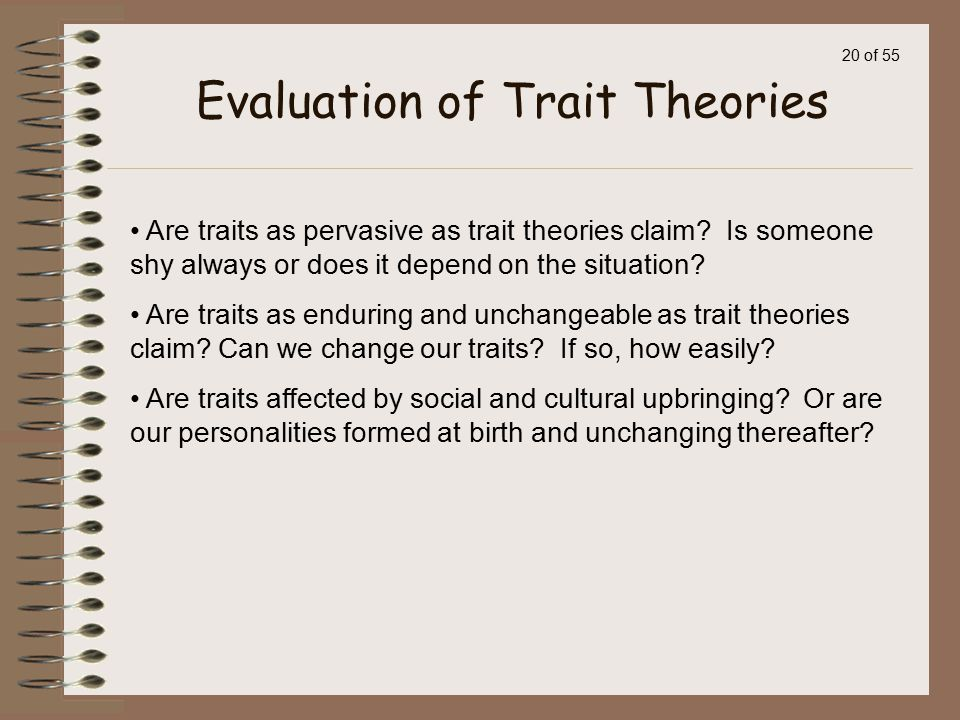 Evaluation of Trait Theories