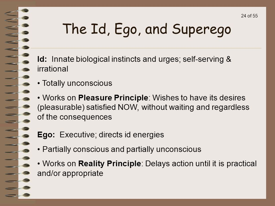 The Id, Ego, and Superego Id: Innate biological instincts and urges; self-serving & irrational. Totally unconscious.
