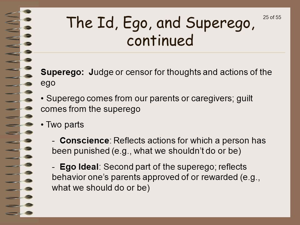 The Id, Ego, and Superego, continued