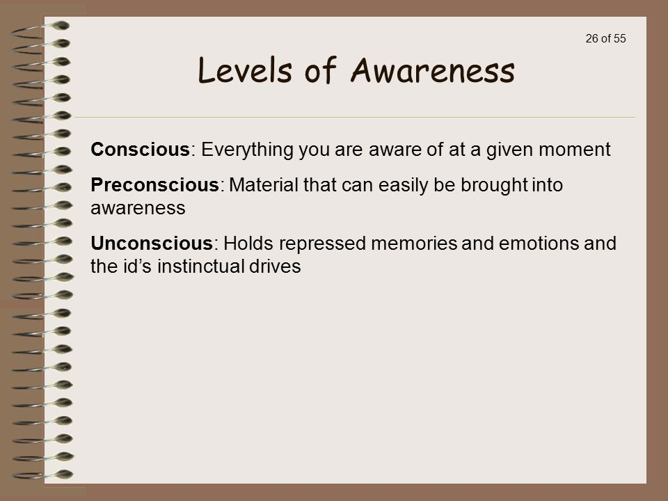 Levels of Awareness Conscious: Everything you are aware of at a given moment. Preconscious: Material that can easily be brought into awareness.