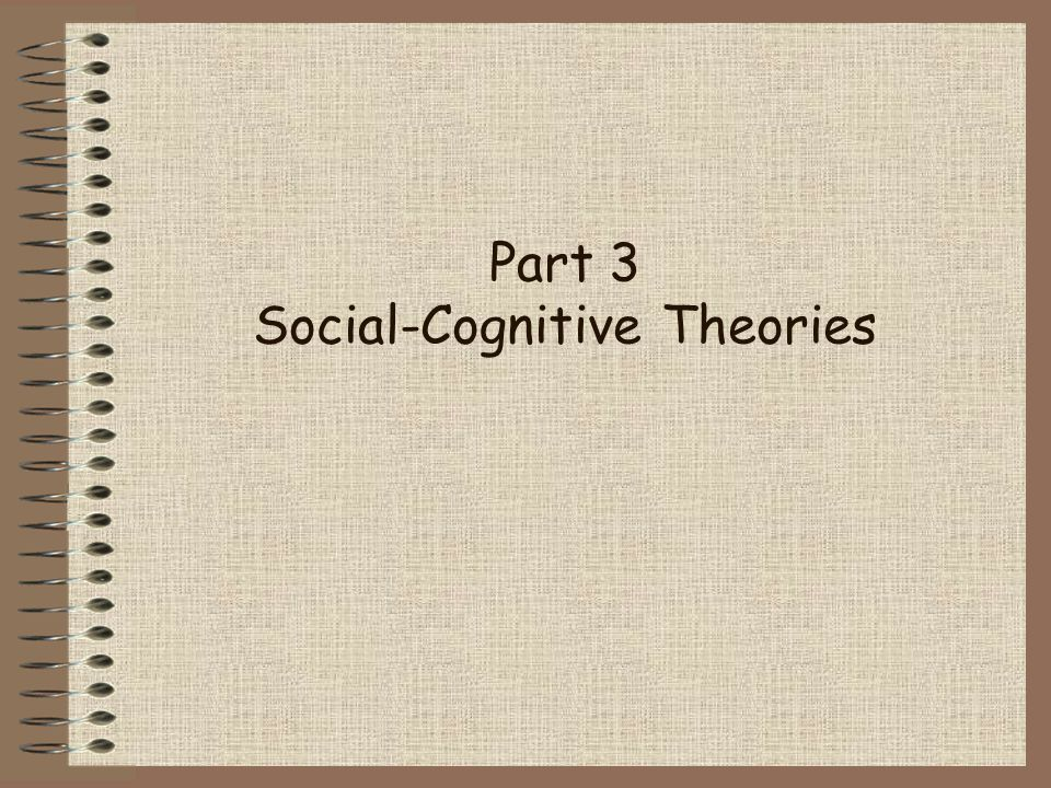 Part 3 Social-Cognitive Theories